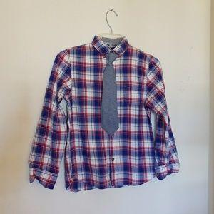 H&M // plaid shirt with detachable tie